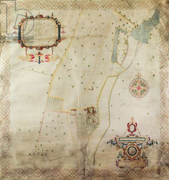 Map of the Manor of Shifnal, Shropshire, 1635 (ink & colour on vellum)