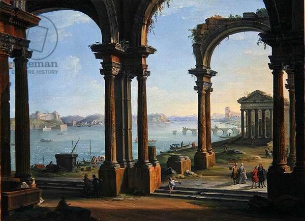 Harbour Scene through Ruined Arches (oil on canvas)