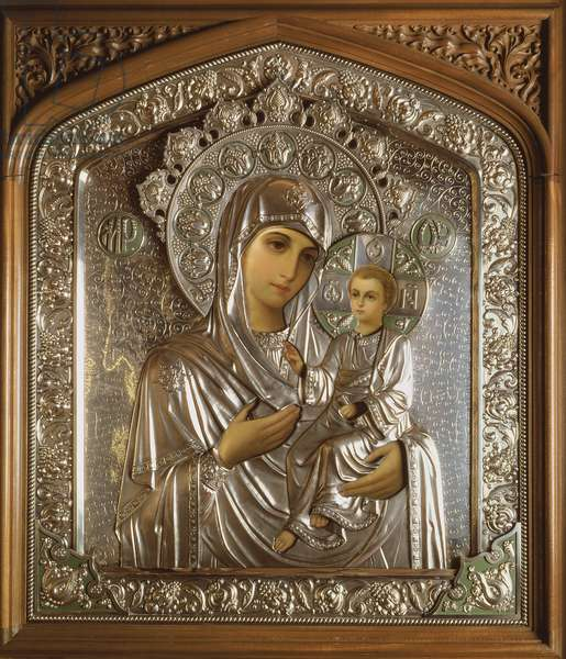 Icon of the Blessed Virgin and the Child Jesus, 1908 (oil on board and silver)