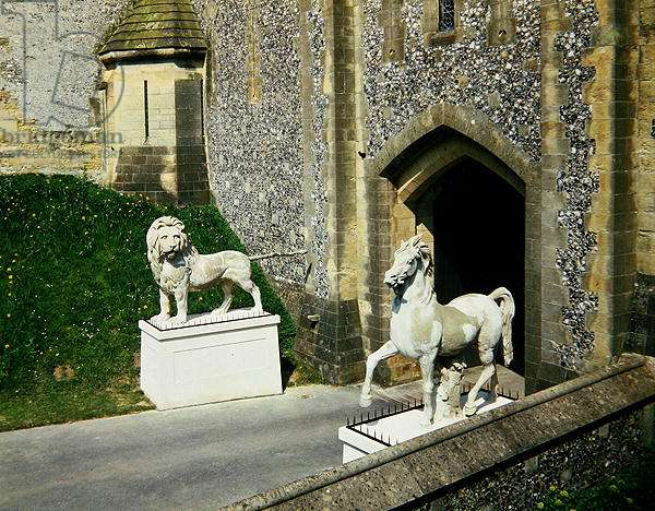 Coade stone Lion and Horse, on the bridge over the dry moat at Arundel Castle (photo)