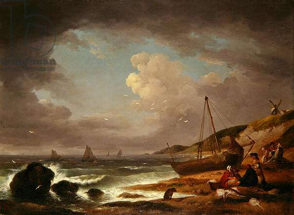 Coastal Scene with Men Mending a Boat (oil on canvas)