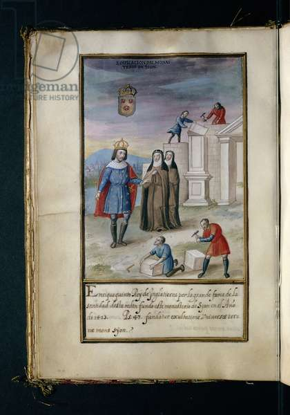 Building the convent at Syon, from a history of the peregrinations of the Syon Nuns, compiled in Lisbon in the early 17th century (vellum)