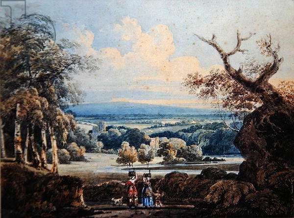 View of Arundel Castle with Countrywomen in the Foreground, c.1796 (w/c on paper)