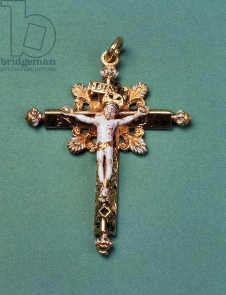 Crucifix given by Mary Queen of Scots to the last Abbot of Westminster, John Feckenham (gold and enamel)