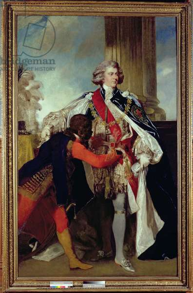 George IV when Prince of Wales with a negro page, 1787 (oil on canvas)
