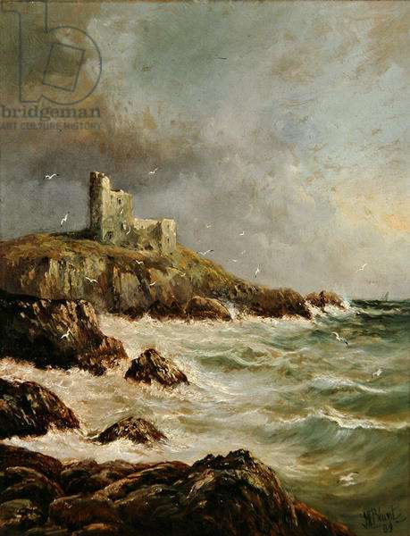 Ruined Castle on Rocky Shore, 1889 (oil on canvas)
