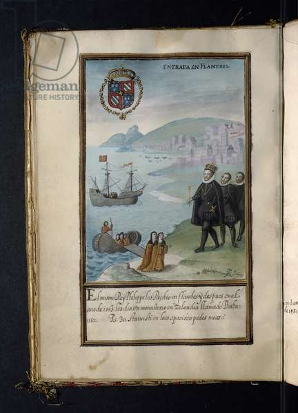 Arrival in Flanders, from a history of the peregrinations of the Syon Nuns, compiled in Lisbon in the early 17th century (vellum)