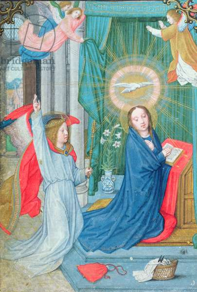 The Annunciation, miniature from the Norfolk Book of Hours (vellum)