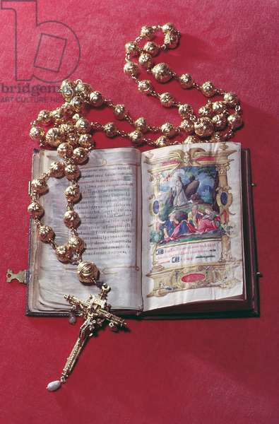 Rosary and Prayer Book belonging to Mary Queen of Scots (ink on parchment and gold & pearl)