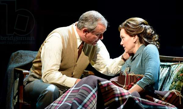 Hugh Bonneville playing CS Lewis and Liz White as Joy Gresham in Shadowlands by William Nicholson at Chichester Festival Theatre, West Sussex, UK, 2019 (photo)