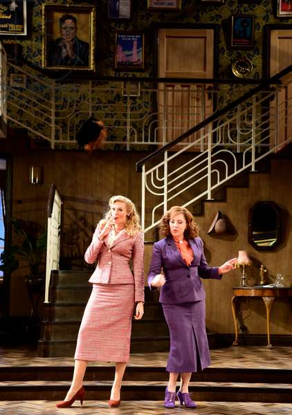 Katherine Kingsley (Playing Liz Essendine) and Tracy-Ann Oberman (Playing Monica Reed) in a scene from Present Laughter by Noel Coward, Chichester Festival Theatre, Chichester, Sussex, United Kingdom. Wednesday 25 April 2018.