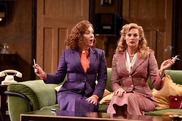 Tracy-Ann Oberman (playing Monica Reed, left) and Katherine Kingsley (playing Liz Essendine) in a scene from Present Laughter by Noel Coward, Chichester Festival Theatre, Chichester, Sussex, United Kingdom. Wednesday 25 April 2018.