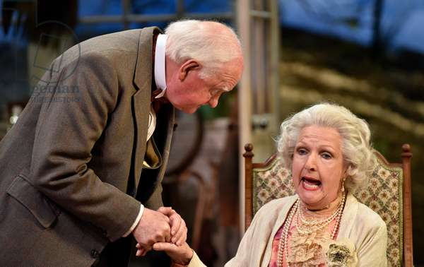 Penelope Keith (playing Mrs St Maugham)) and Oliver Ford Davies (playing the Judge) in Enid Bagnold's The Chalk Garden, Chichester Festival Theatre, Chichester, Sussex, UK. Wednesday 30 May 2018.