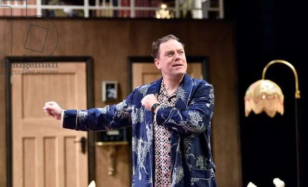 Rufus Hound (Playing Garry Essendine) in a scene from Present Laughter by Noel Coward, Chichester Festival Theatre, Chichester, Sussex, United Kingdom. Wednesday 25 April 2018.