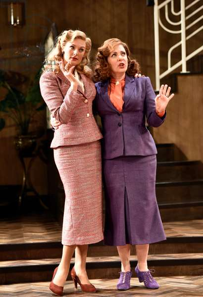 Tracy-Ann Oberman (playing Monica Reed, right) and Katherine Kingsley (playing Liz Essendine) in a scene from Present Laughter by Noel Coward, Chichester Festival Theatre, Chichester, Sussex, United Kingdom. Wednesday 25 April 2018.