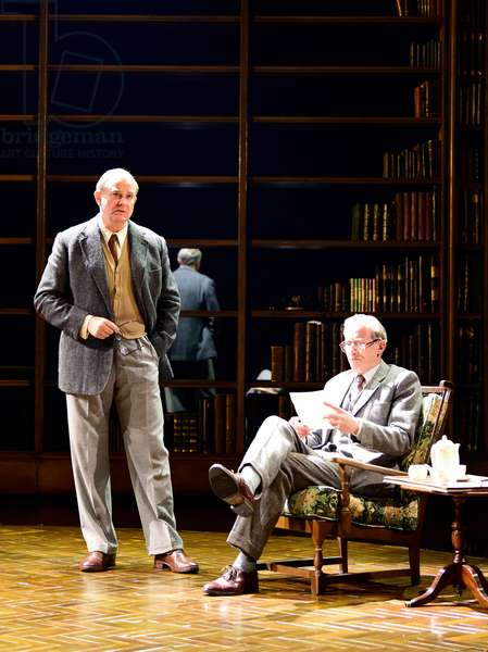 Hugh Bonneville (left) playing CS Lewis and Andrew Havill playing Warnie in Shadowlands by William Nicholson at Chichester Festival Theatre, West Sussex, UK, 2019 (photo)