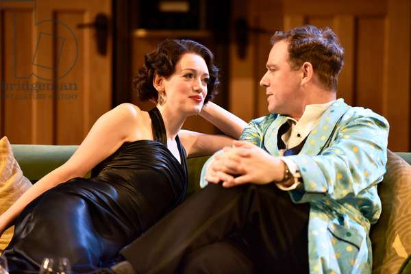 Lucy Briggs-Owen (playing Joanna Lyppiatt) and Rufus Hound (playing Garry Essendine) in a scene from Present Laughter by Noel Coward, Chichester Festival Theatre, Chichester, Sussex, United Kingdom. Wednesday 25 April 2018.