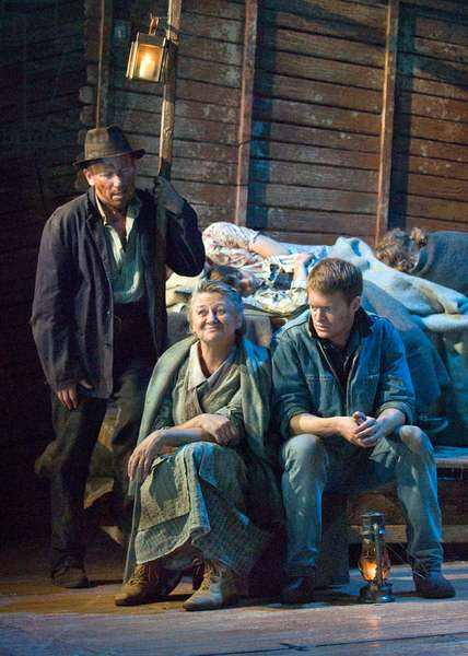 Christopher Timothy [left] as Pa Joad and Sorcha Cusack playing Ma Joad in The Grapes of Wrath by John Steinbeck, Chichester Festival Theatre, July 2009. Directed by Jonathan Church.