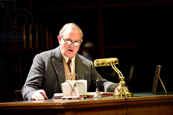 Hugh Bonneville playing writer CS Lewis in Shadowlands a play written by William Nicholson at Chichester Festival Theatre, West Sussex, UK, 2019 (photo)