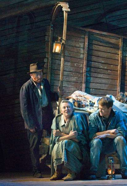 Christopher Timothy [left] as Pa Joad and Sorcha Cusack playing Ma Joad in The Grapes of Wrath by John Steinbeck. Chichester Festival Theatre, July 2009. Directed by Jonathan Church.