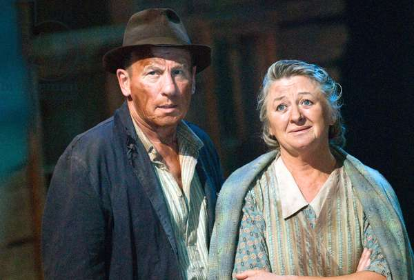 Christopher Timothy as Pa Joad and Sorcha Cusack playing Ma Joad in The Grapes of Wrath by John Steinbeck. Chichester Festival Theatre, July 2009. Directed by Jonathan Church.