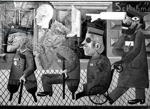 'The War Cripples' by Otto Dix, Exposition Degenerate Art, 1938 (b/w photo)