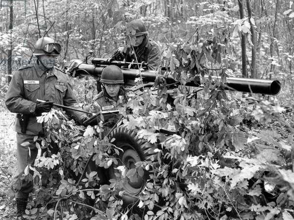 US general Hartel during manoeuvre of US army in Grunewald in Berlin