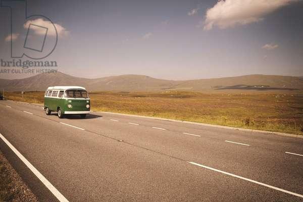 Vintage VW Volkswagen bus green road trip highway