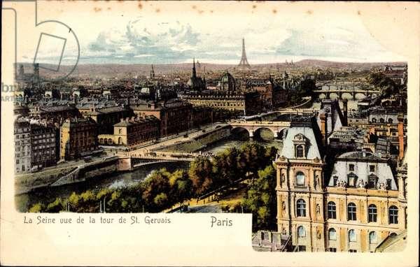Paris, La Seine, vue de la tour de St. Gervais, Eiffelturm, BrŸcken