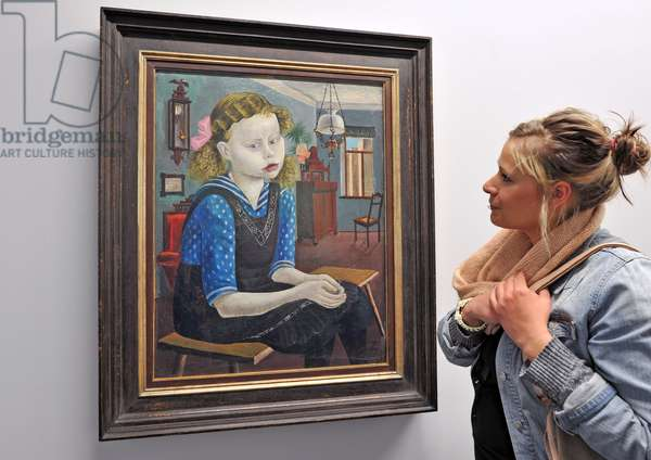 """Woman looking at """"Girl on Sunday"""", painting by Otto Dix,  1921"""