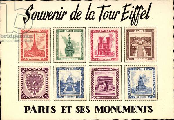 Briefmarken Paris, Souvenir de la Tour Eiffel, Monuments