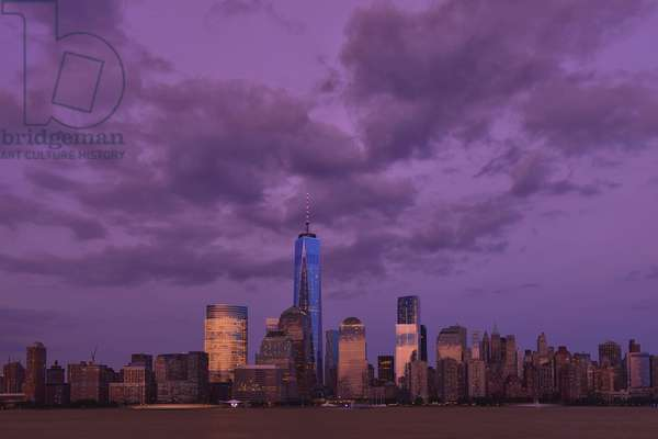 Battery, Skyline, New York, USA, United States, America, Manhattan, Hudson, river, lower Manhattan, one world trade center, world trade center, tower, evening