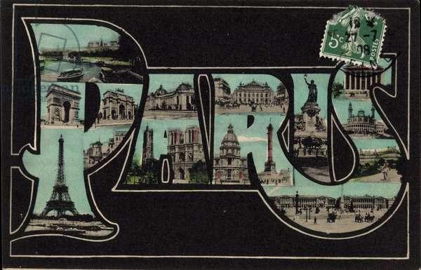 Buchstaben Paris, La Tour Eiffel, L'Arc de Triomphe, la Madeleine, Notre Dame