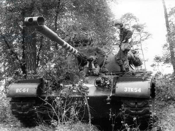 Tank during manoeuvre of US army in Grunewald in Berlin