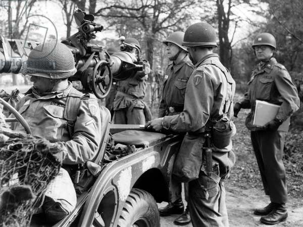 US general Frederick O. Hartel during manoeuvre of US army in Berlin Grunewald