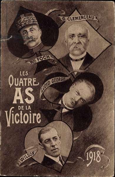 Marechal Foch, Georges Clemenceau, Lloyd George, Woodrow Wilson