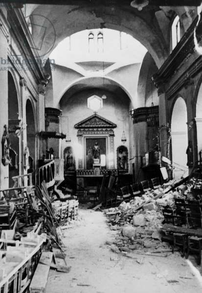 WWII - North African Campaign 1943 : The image from the Nazi Propaganda! depicts destroyed churches in Sfax, Tunisia, published on 9 March 1943. Photo: Berliner Verlag/Archiv