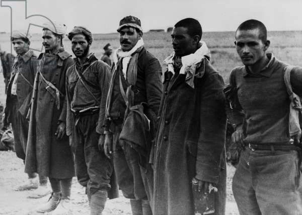 WWII - North African Campaign 1943 : The image from the Nazi Propaganda! depicts dark-skinned auxiliary forces of the British army who were captured as prisoners of war in Tunisia, published on 17 February 1943. Place unknown. Photo: Berliner Verlag/Archiv