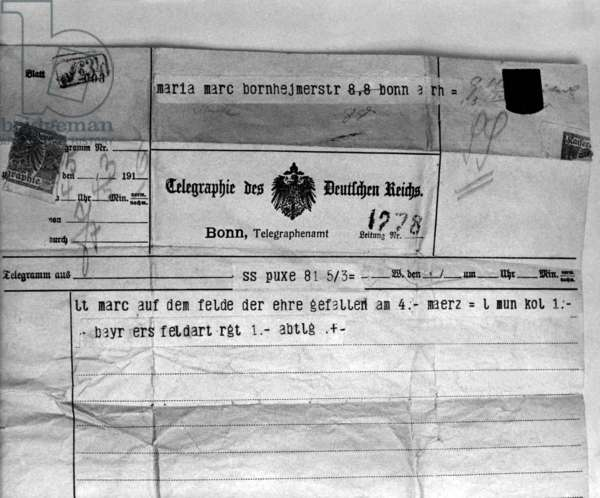 Telegram with news of the Death of the Artist Franz Marc, at the Battle of Verdun, 1916 (ink on paper)