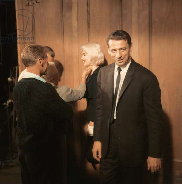 On set of the movie Let's make love by George Cukor with the actors Yves Montand and Marilyn Monroe 1959