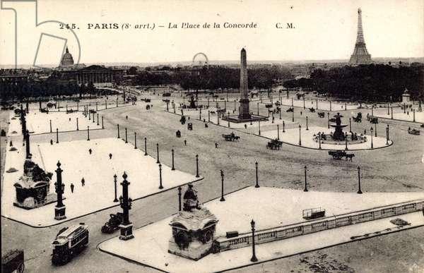Paris, La Place de la Concorde, Eiffelturm, Denkmal, Omnibus, Stra§enpartie
