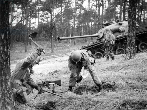 Manoeuvre of US army in Grunewald in Berlin
