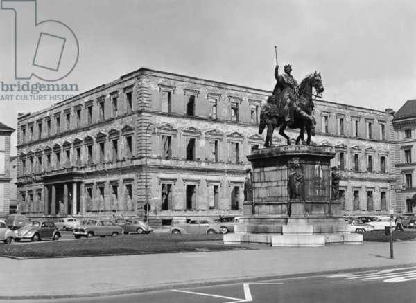 Munich - Ruins of Palais Leuchtenberg, 1956 (b/w photo)