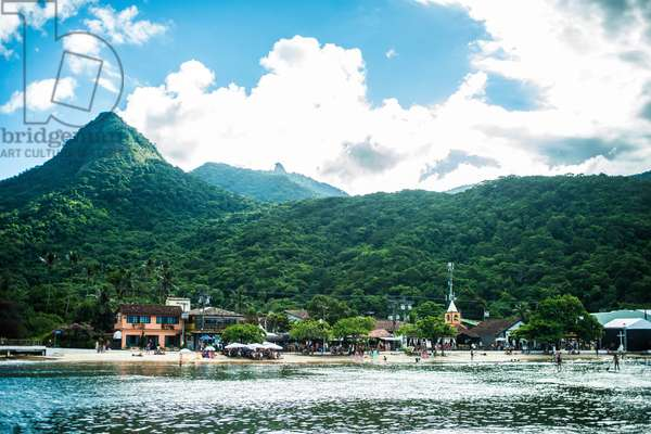 Mount Pico and Harbour in Vila do Abra¿o, Ilha Grande, Rio de Janeiro