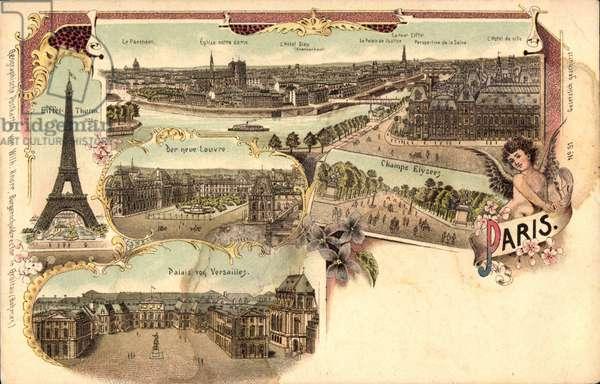 Paris, Eiffelturm, Palais von Versailles, Der neue Louvre, Champs Elysee