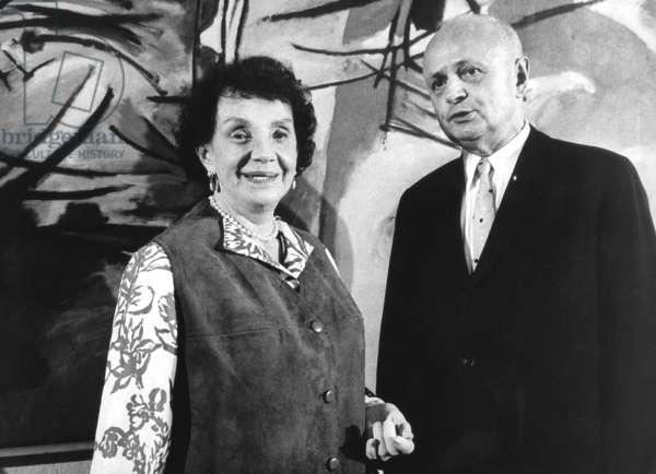 Nina Kandinsky (widow of Kandinsky) and the president of the Baden-Württemberg parliament, Camill Wurz, 1970 (b/w photo)