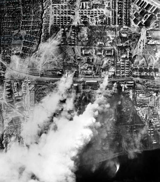 Battle of Stalingrad: The German Wehrmacht perfoms an air strike on Stalingrad, Soviet Union, in September 1942 (b/w photo)