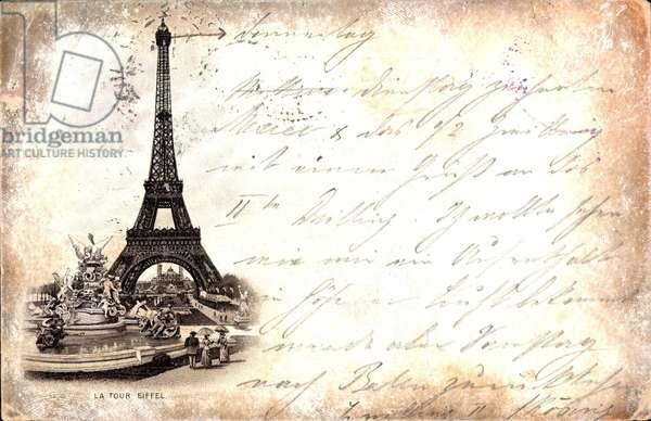 Vorlaufer Paris, La Tour Eiffel, Totalansicht vom Eiffelturm, Fontane,1892