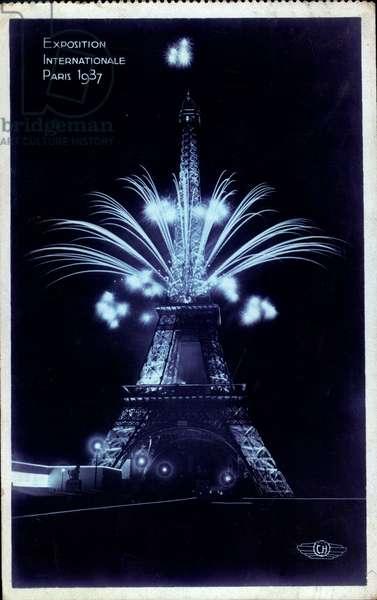 Paris, Expo, Weltausstellung 1937, Eiffelturm, Feuerwerk, Nacht