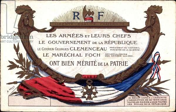 Les Armees et leurs chefs, Georges Clemenceau (1841-1929), Ferdinand Foch (1851-1929), Merite de la Patrie